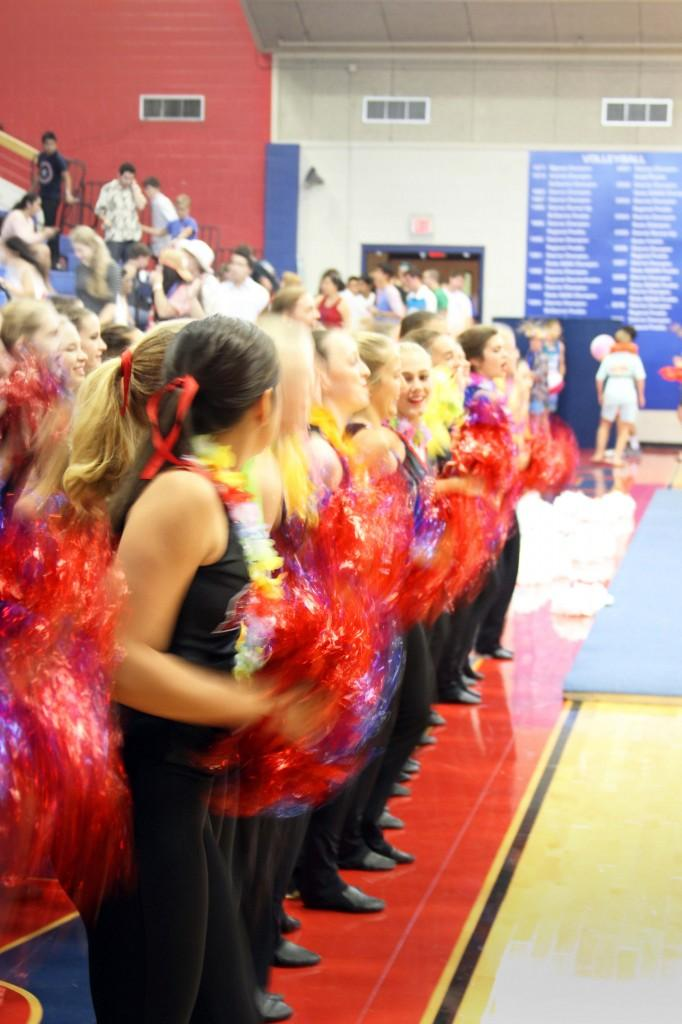 The Westlake Hyline shake their pom poms as the first Pep Rally of the year begins on Aug. 29.