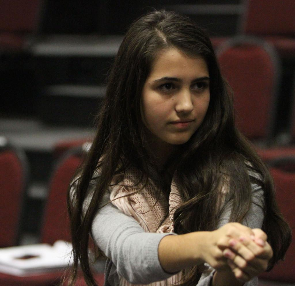 Sophomore Anna Hodges rehearses for Pippin after school on Sept. 30.