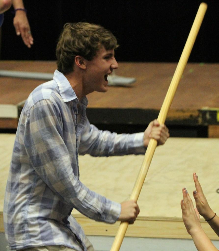 Freshman Cal Ussery rehearses his part as Pippin in the musical Pippin Sept. 30. Pippin opens Oct. 25 in the Black Box theater.