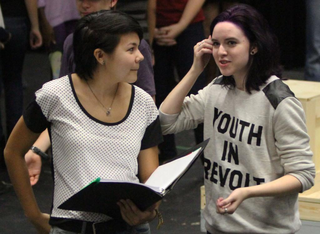 Juniors Sarah Holland and Susannah Crowell rehearse for Pippin on Sept. 30. Pippin will open Oct. 25 in the Black Box theater.