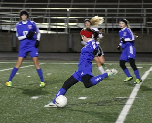 The girls varsity soccer team in their first district game against Bowie.