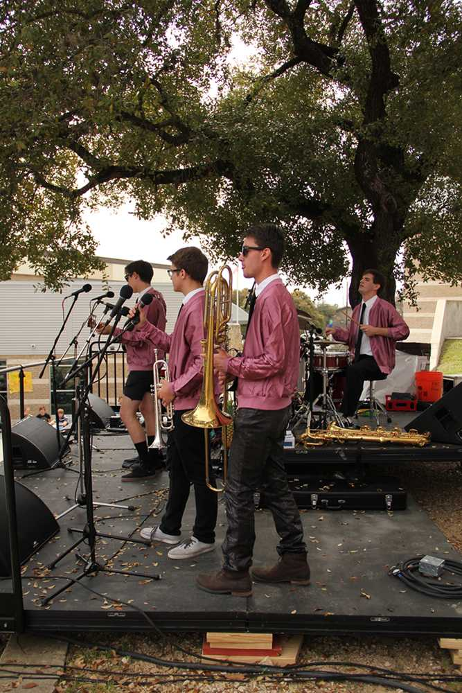 The band Chromatic Funk, made up of seniors David Alvarez, Aidan Sivy, Adam Wilson, Ben Pederson and Greg Doscher, performed on Friday, March 21 for the student council-held live music lunch.