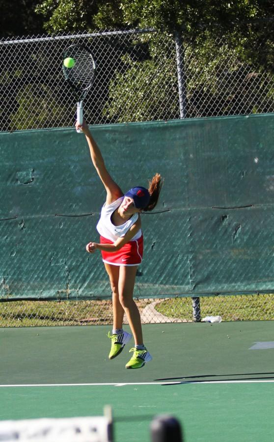Senior Fernada Contreras defeats Lake Travis during the district tournament. This win brings there record to 22-0.