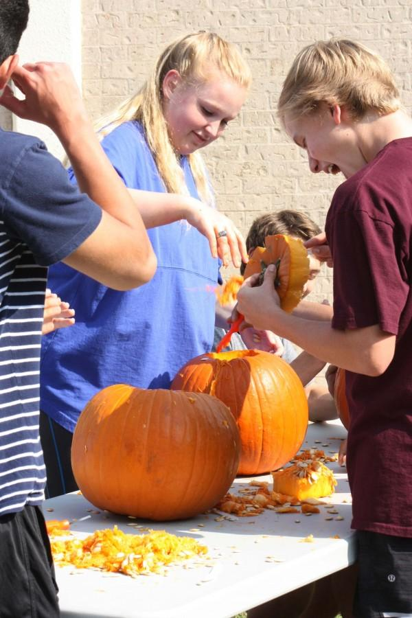 Westlake broadcast students participate in the pumpkin carving contest