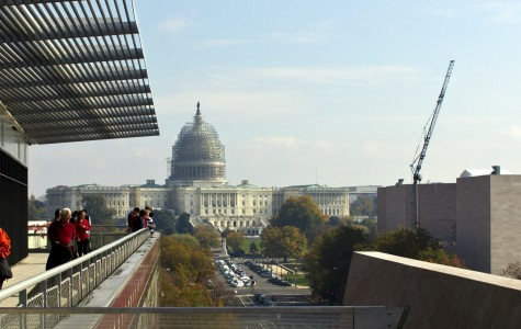 The U.S capitol is seen from the Newseum museum balcony. The Capitol building is currently undergoing renovations and repairs to return its large dome to its original grandeur.