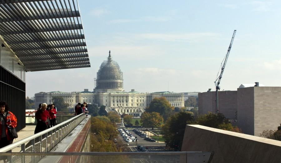 The+U.S+capitol+is+seen+from+the+Newseum+museum+balcony.+The+Capitol+building+is+currently+undergoing+renovations+and+repairs+to+return+its+large+dome+to+its+original+grandeur.