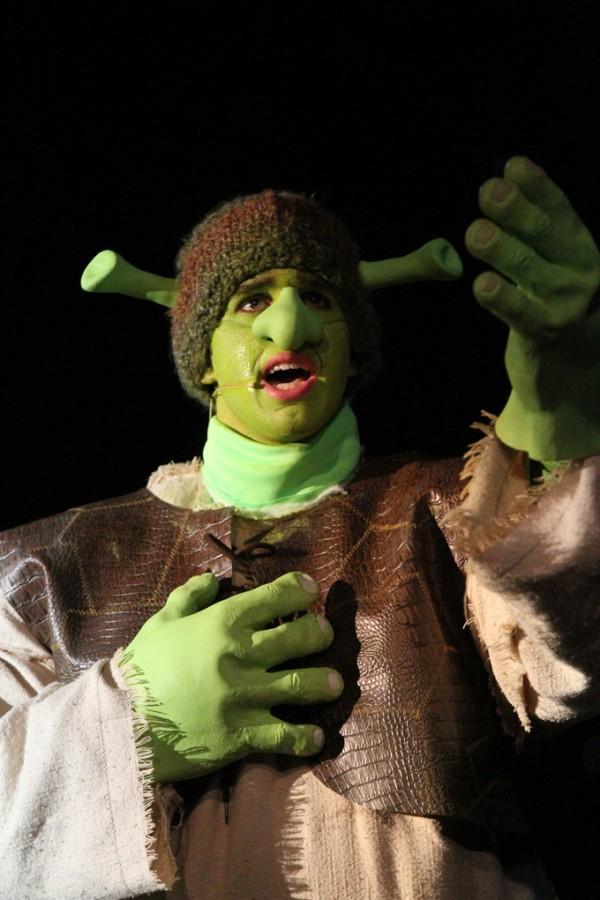 Shrek, played by senior Joe Richard, sings during a performance on Feb. 7.