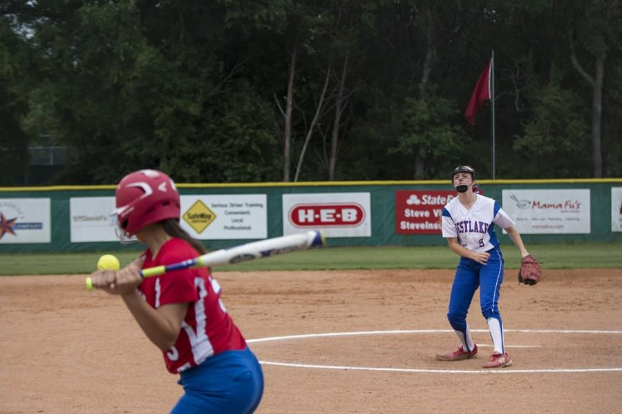 Sophomore Jillian Hefner throws a strike to the Hays batter on April 12. Julian is commited to Abilene Christian University in Abilene, Texas.