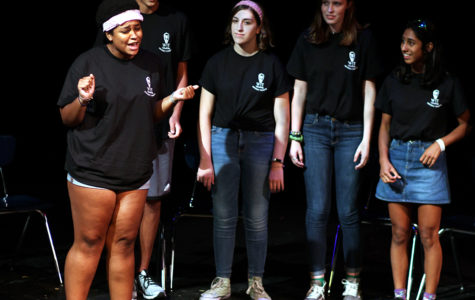On Sept 1, in the Black Box Theatre, the Westlake Improv Troupe (more commonly known as WIT) had their first performance of the year. Sophomore Jemima Abalogu is starting the show off strong, and getting people to laugh just by introducing herself. Apart from entertaining the audience, one thing the group was doing was collecting donations to help victims of Hurricane Harvey.