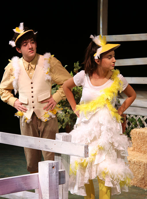 Sophmore Mariana Silveyra plays the chicken and Sophomore Josh Siegal plays the Gander in Charlotte's web. The Westlake theater puts on a different play in the blackbox every year.
