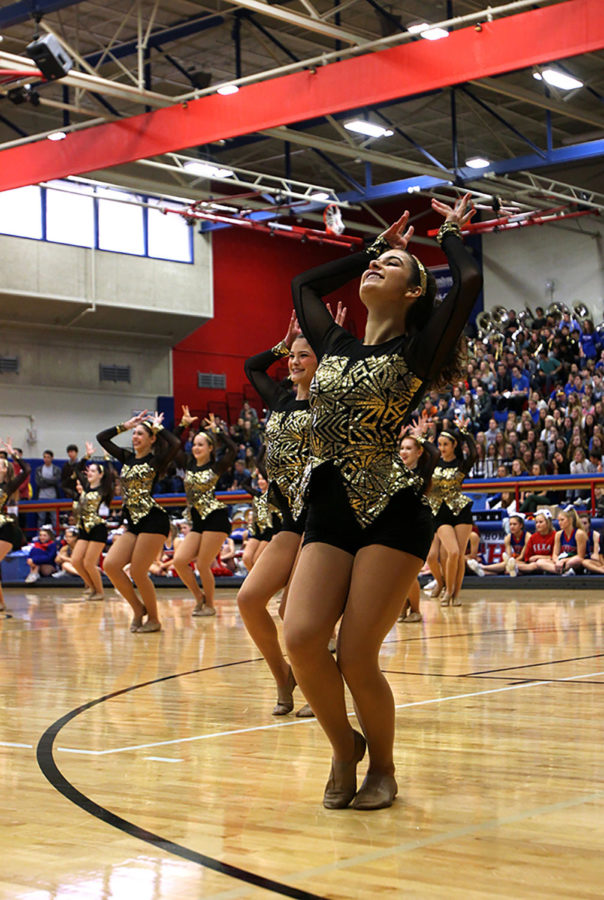 Senior Ambar Ancira performs with Westlake Hyline at the pep rally. Their dance was a jazz routine called Sax.