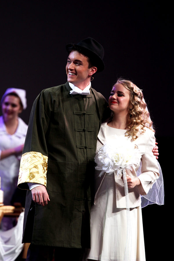 Senior Austin Davis and Julia Flowers perform in the dress rehearsal of Westlake Choirs musical, Anything Goes.
