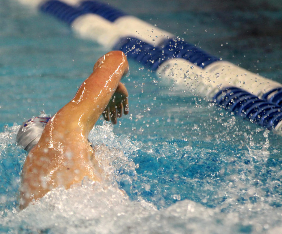 Senior Clark Wakeland swims the 200 Y free at the Texas UIL 6A State Championships. The event was held at UTs Lee and Joe Jamail Texas Swim Center. Wakeland placed 7th with a time of 1:40.71.