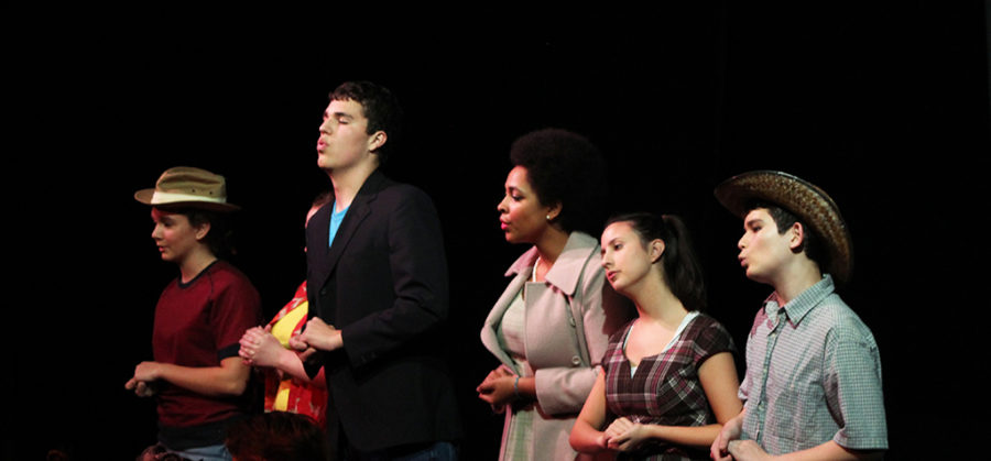 From left to right, juniors Meg Hunicke-Smith, John Schwab, Jemima Abalogu, Mariana Silveyra and sophomore Bryan Finley-James sing during a performance of Alexander & the Terrible, Horrible, No Good, Very Bad Day at Westlake high school on Nov. 15.