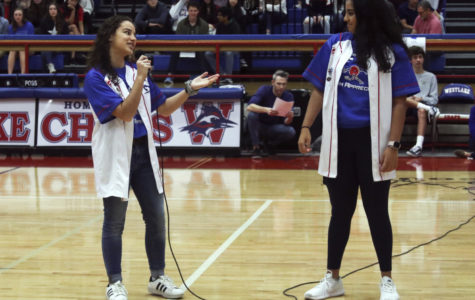 Seniors Cristina Salas and Saanya Bhargava from the varsity robotics team called 468 Team Appreciate tell the school about their achievements this year.