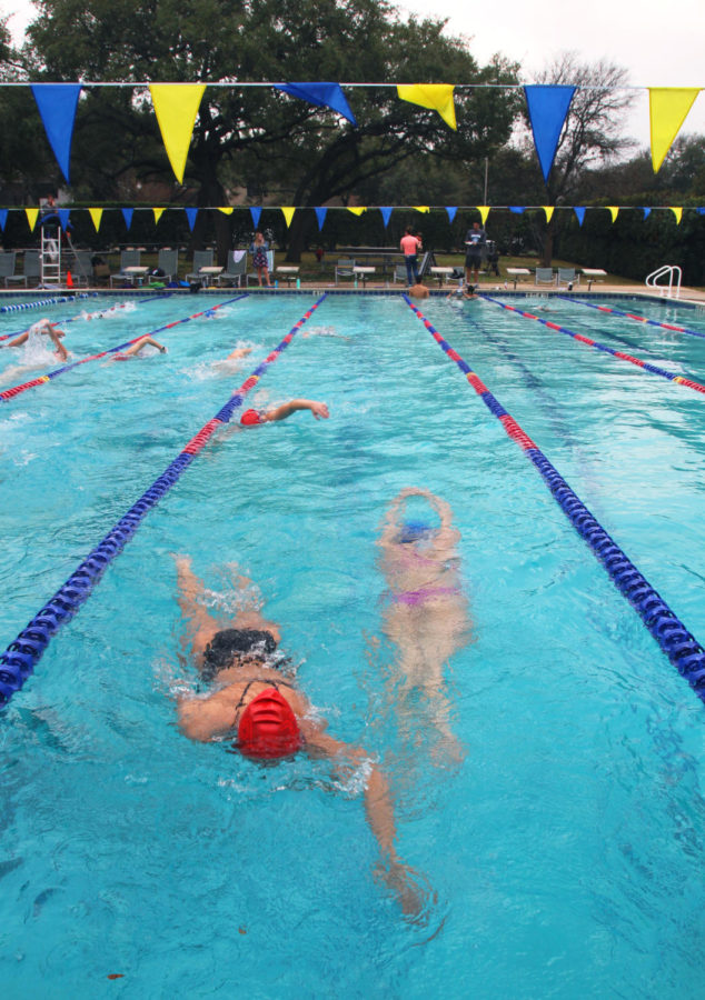 Westlake+swimmers+start+the+pracitce+off+with+a+warm+up+at+the+Rolling+Wood+pool.