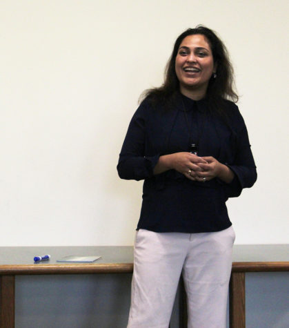 "Speaker Afshan Khan gives a speech to parents at the Westbank Library on March 28. Her speech ""The Science to Overcoming Performance Anxiety"" helped to inform parents on ways to deal with anxiety felt by their children and what resources could be used to help them."