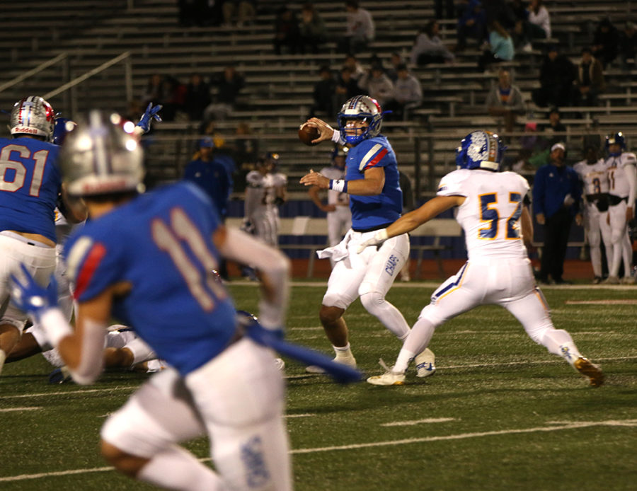 Senior Kirkland Michaux prepares to pass the ball during the Westlake v. Anderson football game Nov. 1.