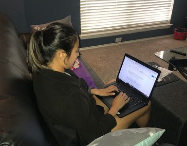 Austin-American Statesman reporter Luz Moreno-Lozano works on her story assignments from home April 29 during the COVID-19 pandemic. The newspaper's offices are currently closed for safety reasons, and everything has moved online.