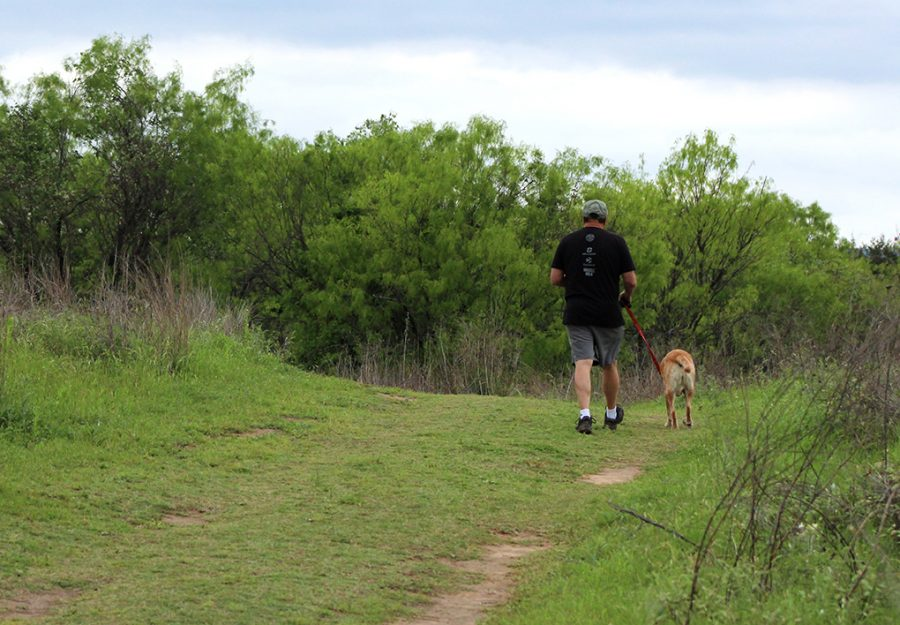 A man and his dog walk around the park at Commons Ford Ranch April 6.