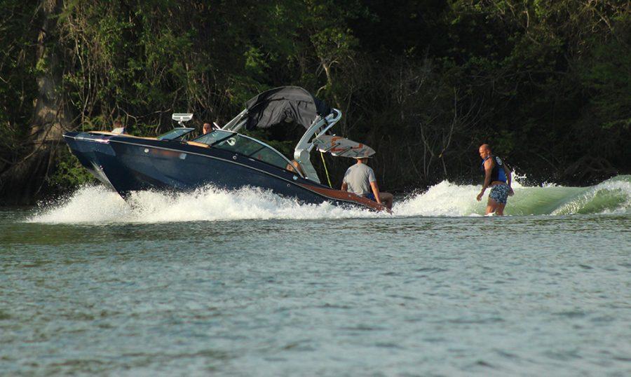 Austinites enjoy a day on the boat wakesurfing April 10.
