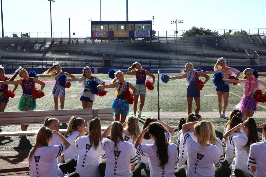 Hyline watches as the varsity cheerleaders perform at the pep rally Sept. 24.